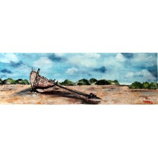 Original signed Irish Oil Painting by Artist CORINA HOGAN - Shipwrech On Beach